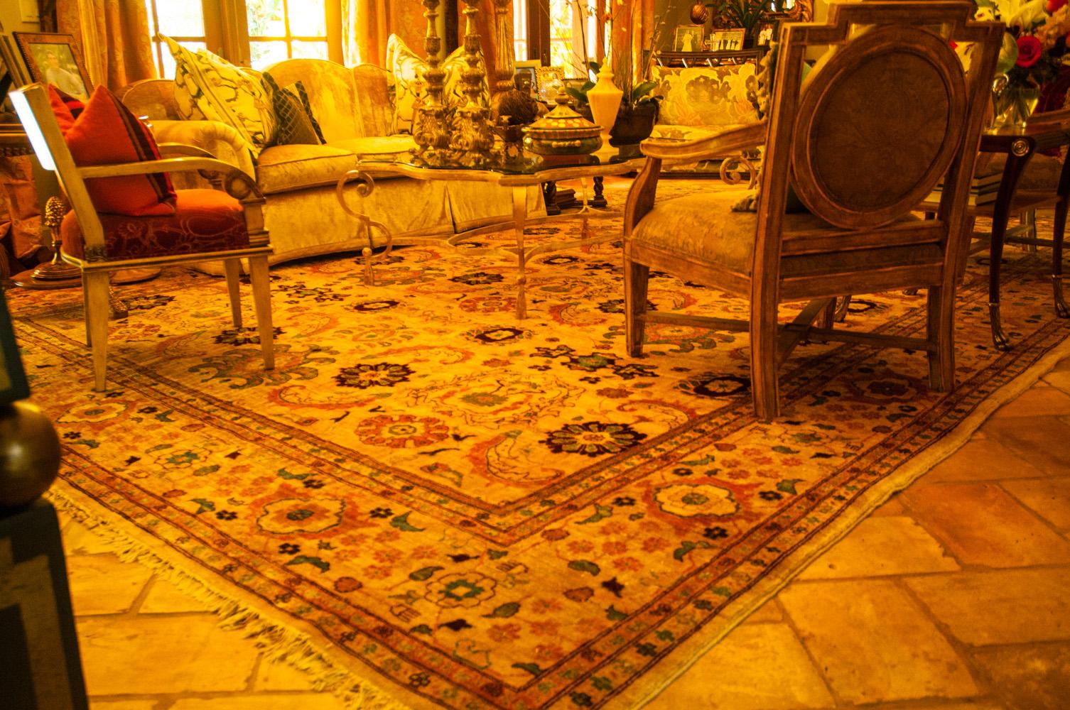 Color blean on wool rug